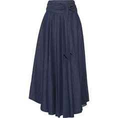 Tibi Belted denim maxi skirt