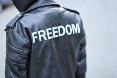 Freedom leather bikers jacket