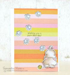Cat Paw print card by Samantha Mann | Newton's Antics stamp set & Die set by Newton's Nook Designs #cat #stamps #newtonsnook