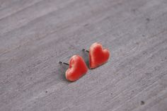 Leaf Necklace, Heart Earrings, Stud Earrings, Girlfriend Gift, Leaf Pendant, Cat Lover Gifts, Handmade Pottery, Little Red, Great Gifts