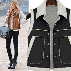 Vintage Vest Coat Vest Women Autumn Winter European Street Style Fur Lambwool Vest Women Waistcoat