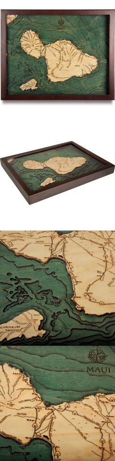 Home Decor: Maui, Hawaii - 3D Nautical Wood Map Carved Chart (Framed) 16X20 -> BUY IT NOW ONLY: $158.0 on eBay!