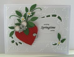 EEK!  I love this little mouse!  You can make him with punches from Stampin' Up! along with the strawberry.  I definitely have to try this little guy!