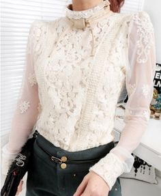43741ba5089 Floral Lace Blouse with High Collar. Lace Bows
