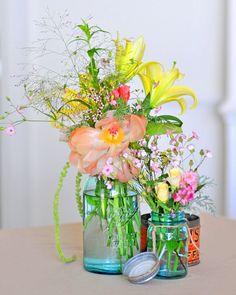 Wild flowers in jars