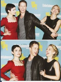 Ginny Goodwin, Josh Dallas, and Jennifer Morrison - The Charmings. Once Upon A Time Funny, Once Up A Time, Ginnifer Goodwin, Ginny Goodwin, Colin O'donoghue, Jennifer Morrison, Emma Swan, Camisa Do Star Wars, Undercut Asymmetrical Pixie