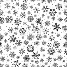 Winter Snow Flakes Doodle Seamless Background Royalty Free Stock Vector Art Illustration