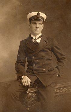 +~+~ Antique Photograph ~+~+  Handsome Edwardian sailor.
