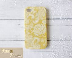 Iphone 4s Case - Pale Yellow Lace iPhone case - Iphone 4 hard Case, Iphone 4s cover. $15.90, via Etsy.