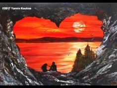 Simple and Easy Romantic Sunset - Acrylic Painting on Canvas for Beginners