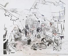 Cecily Brown. //Strolling Actresses//, 2015. Watercolor and ink on paper. 51 1/2 x 79 inches. Courtesy of the artist.