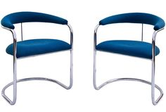 Chrome Barrel Chairs, Pair