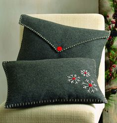 "Product Details    Hand embroidered snowflake with white blanket stitching and button detail  Envelope button closure   Dry clean only  9""l x 12""w"