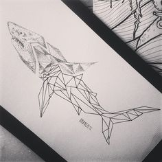 Marvelous half-dotwork half-geometric shark tattoo design