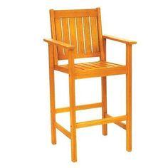 Barstool Eucalyptus Wood Chair Pool Side Kitchen Patio Arm Stools Furniture New