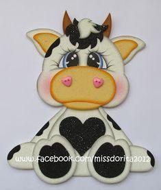 Miss Dorita: Vaquita en Foamy Cow Craft, Cute Animal Clipart, Cartoon Cow, Diy Hanging Planter, Felt Wreath, Felt Books, Baby Shower Fun, Foam Crafts, Scrapbook Paper Crafts