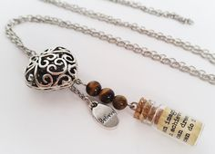 Silver charm necklace with message in a bottle. by totesBOHO Message In A Bottle, Silver Charms, Crystal Necklace, Glass Bottles, Miniatures, Jewellery, Crystals, Unique Jewelry, Bracelets