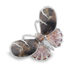 Evelyn Clothier Jewelry platinum butterfly brooch featuring brown diamond slices (104.42 ctw.) accented with a 5.06 ct. brown diamond and white diamonds (3.04 ctw.)