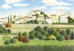 渡辺美香子さんの色鉛筆画  「ながめのいい村」http://goo.gl/ba6bS
