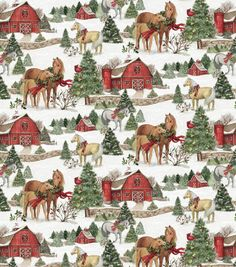 Susan Winget Christmas Two Horses Scenic Multi from Designed by Susan Winget for Springs Creative, this festive cotton print features horses and is perfect for quilting, apparel and home decor accents. Colors include red, green, and white. Christmas Farm, Christmas Horses, Christmas Projects, Christmas Themes, Vintage Christmas, Christmas Holidays, Xmas, Christmas Paper, Christmas Thoughts