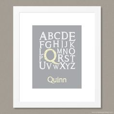 """Choose a colour! Personalize it, and make it your own! """"Personalized Alphabet"""" print by Simple Sugar Design Alphabet Nursery, Alphabet Print, Great Christmas Gifts, Holiday, Simple Sugar, Kid Names, Different Colors, Gifts For Kids, Chalkboard"""