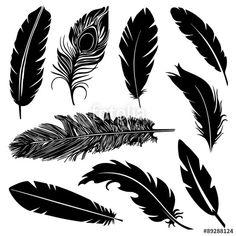 Feather Silhouette - Acquista questo vettoriale stock ed esplora vettoriali simili in Adobe Stock Feather Tattoo Ear, Feather Clip Art, Chest Tattoo Wings, Monogram Tattoo, Paper Feathers, Silhouette Clip Art, Graffiti Lettering, Tattoo Sketches, Art Techniques