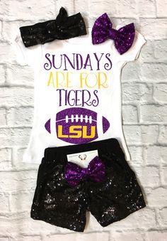 Baby Girl Clothes, LSU Football Shirts, Baby Girls LSU Football Onesies, LSU Onesies, Baby Girl Football Onesies, LSU Football Kids Clothing, LSU Football - BellaPiccoli