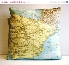 SALE 16 inch cushion  country maps SPAIN map by mybeardedpigeon, $50.00 #maps #mapcushion #mappillow #atlas #homedecor #pillow #cushion #sham #etsy #organic #ecofriendly
