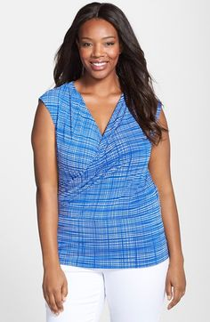 Ellen Tracy Print Cap Sleeve Wrap Top (Plus Size) available at #Nordstrom