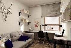 SKANDYNAWIA NA ŻOLIBORZU - Duże biuro kącik do pracy w pokoju, styl skandynawski - zdjęcie od design me too