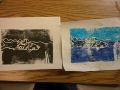 I let the students choose which printing process they wanted to do. They enjoyed both but I still like the watercolor one. :-) Students used mr. sketch watercolor/washable markers and colored their foam plate. I then carried a squirt bottle and sponge around when they were ready to print. Students squirted 2-3 sprays and sponged the paper... laid the wet side on top of the foam and pressed. They also really enjoyed using the brayers, so it was like the best of both worlds yesterday for them.