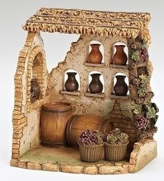 This item has been retired but each year, Fontanini introduces new nativity pieces. Visit us for the latest Fontanini village buildings, villagers and accessories. Vitrine Miniature, Miniature Houses, Miniature Rooms, The Wine Shop, Fontanini Nativity, Christmas Nativity Set, Nativity Sets, Christmas Bells, Christmas Crafts