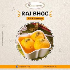 Raj Bhog is a delicious, delicate Indian dessert! It is a popular for its sweetness made with saffron flavored Rasgullas stuffed with dry fruits. For trade inquiry call at- 9878942569 Indian Desserts, Indian Sweets, Indian Food Recipes, Food Graphic Design, Food Design, Sweet Box Design, Indian Catering, Restaurant Promotions, Banner Design Inspiration