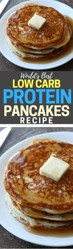 The Best Protein Pancake LOW CARB PROTEIN PANCAKES RECIPE! These healthy and easy protein pancakes are the absolute best I've ever had. Light and fluffy, and less than net carbs per pancake. Healthy Eating Recipes, Healthy Breakfast Recipes, Healthy Baking, Gourmet Recipes, Low Carb Recipes, Breakfast Ideas, Pancake Recipes, Healthy Snacks, Bariatric Recipes