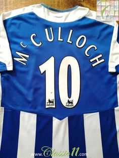 Official JJB Wigan Athletic home football shirt from the 2005/06 season. Complete with McCulloch #10 on the back of the shirt in Premier League lettering.