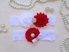 wedding garter set white/red garter set white and red by venusshop, $19.90