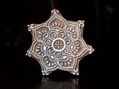 Hand Carved Indian Wood Textile Stamp Block- Floral Motif. $17.00, via Etsy.