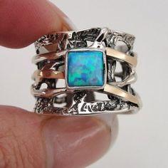 Grande 9k giallo oro e argento 925 opale anello formato 8