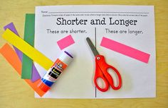 "*Understand measurable attribute systems* Help kindergarteners compare length & use appropriate vocabulary with this FREE ""Shorter and Longer"" activity. Great hands on practice for comparing length. Measurement Kindergarten, Measurement Activities, Math Measurement, Preschool Math, Kindergarten Classroom, Fun Math, Teaching Math, Math Activities, College Activities"