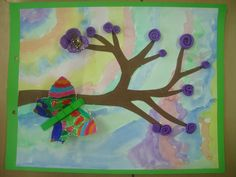 Watercolor background, paper tree cutout, butterfly with clothespin, & tissue paper flowers