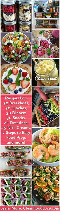 Clean Eating Made Delicious, Fun, and Simple http://CleanFoodLove.com Included are recipes for: 30+ Breakfasts, 30+ Lunches, 30+ Dinners, 30+ Dessert & Snack ideas, 55+ Smoothies, Plus as an added bonus you'll receive a: Step by Step Food Prepping Guide, {save time AND money!} Meal Tracker, {sooo helpful!} Private FB Group, {filled with positive people}
