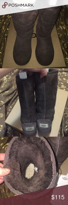 Only👉$90 using offer button 💯%authentic , gorgeous tall classic UGG's Australia, all genuine sheepskin  , only worn few  times ,chocolate brown color, have very small light scuff on the front trim , hardly visible , beside that they are like brand new condition , they are extremely worn and comfy , finally your feet will never feel cold again UGG Shoes Rain & Snow Boots