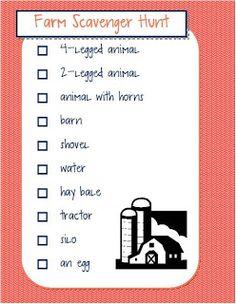 kids farm scavenger hunt checklist