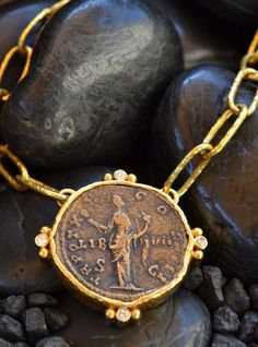 Roman Goddess of Generosity Necklace Byzantine Jewelry, Ancient Jewelry, Antique Jewelry, Vintage Jewelry, Handmade Jewelry, Byzantine Gold, Coin Jewelry, Coin Necklace, Jewelry Art