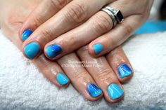 CND Shellac. Cerulean Sea Blue Nails with Deep Blud Additive ombre. #salcombe #shellac #nailart #