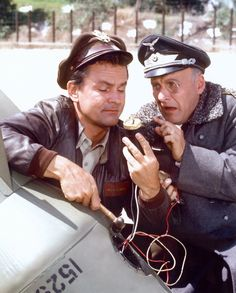 "Bob Crane and Werner Klemperer in a scene from the Hogan's Heroes episode ""A Klink, a Bomb and a Short Fuse."""