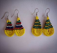 Items similar to Beautiful African Beaded Drop Earrings - Yellow on Etsy African Earrings, African Beads, Beading, Crochet Earrings, Trending Outfits, Drop Earrings, Unique Jewelry, Handmade Gifts, Yellow