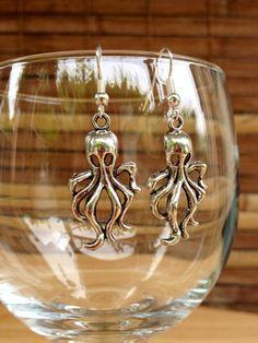 Silver Octopus Charm Earrings,Sea Serpent Silver Jewelry,Silver Squid Charm Earrings,Creepy Ghost Silver Jewelry,Handmade Hawaii Jewelry on Etsy, $11.00
