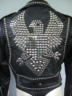 NOS Ladies Studded Eagle Black Leather Biker Jacket in silver tone. Size Medium. Beautifully crafted in the USA, this jacket is made of durable,