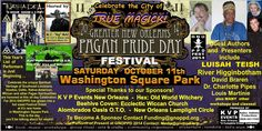 "Celebrate ""The City of TRUE MAGICK!"" at GNOPPD FEST 2014. www.gnoppd.org Voodoo, Wicca, Santeria, Native American and Pagan spirituality will be honored. All day family event at Washington Square Park. Guests: Luisah Teish, River Higginbothan, Dr Charlotte Pipes, Louis Martinie, David Braren. Host: M.C. 'Big' MAC. Performances by Tuatha Dea, Louis Martinie, Mudlark Puppeteers and belly dance troupes. Kids area, arts and crafts, food, Tarot, divination and more! Costumes encouraged!"